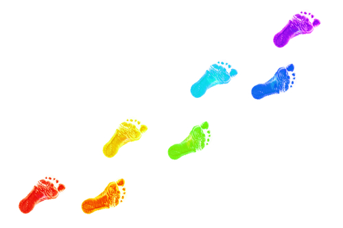 Baby foot prints all colors of the rainbow. The joyful journey. Isolated on white background