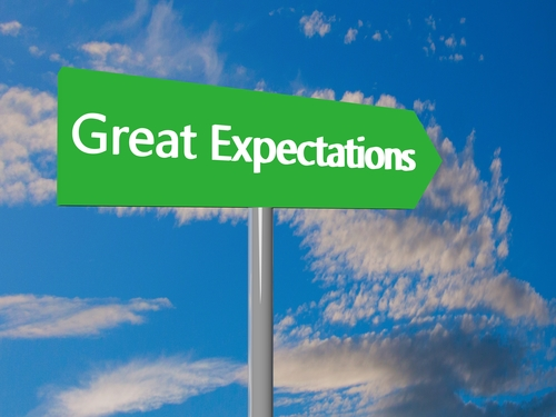 "Green cartel with text ""Great Expectations"", 3d render"